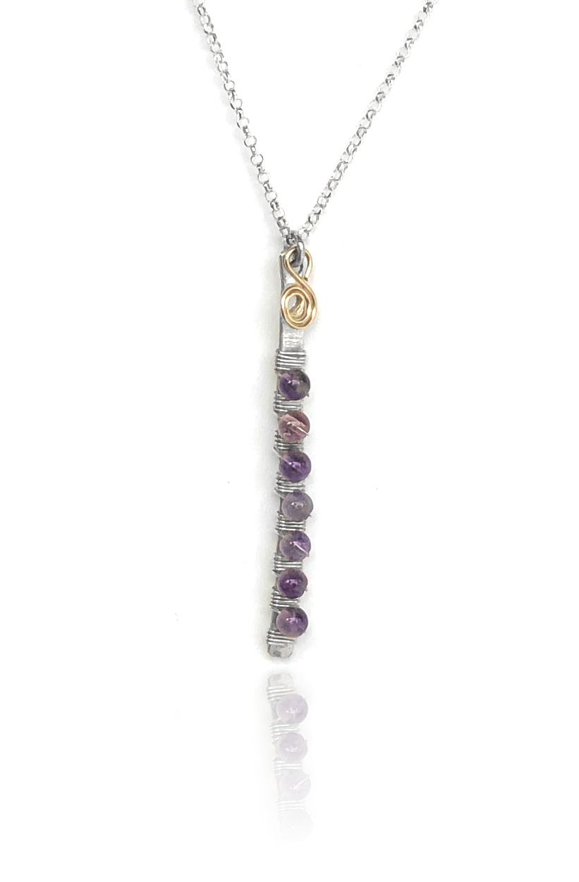 seeds of life petite bar necklace amethyst
