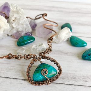 copper azurite necklace